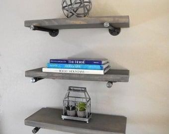 set of 3 12 deep industrial floating corner shelves. Black Bedroom Furniture Sets. Home Design Ideas