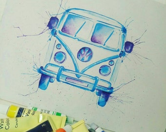 Abstract Watercolour Vw Campervan