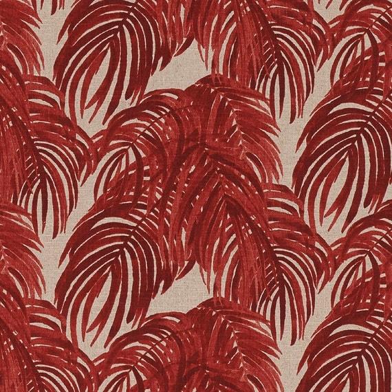 Duvet Cover Villa Palm Leaf Garnet Red Reversible