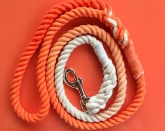Dog Lead - Cotton handmade dog leash- hand dyed cotton rope dog leash