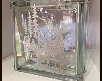 Stag in the woods glass block, night light, Mother's Day gift, light up gift