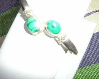 sterling silver and malachite bracelet