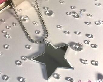 Silver mirror star planner, organiser, keyring or bag acrylic mirror glitzy sparkly gorgeous charm