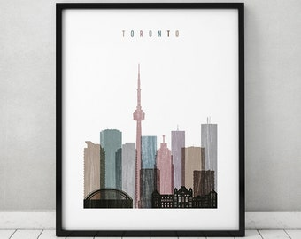 Toronto print, Poster, Wall art, Toronto skyline art, Distressed, Canada cityscape, City prints, wall art, Home Decor, Gift, ArtPrintsVicky