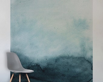 Turquoise Watercolour Wall Mural, Self Adhesive Fabric or Paste&Glue Wallpaper, Watercolour Home Decor