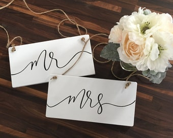 Mr and Mrs Chair Signs - Wood Sign