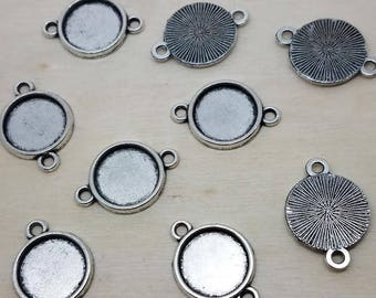12mm Antique Silver Cabochon Tray Connector Setting - 10 Pcs