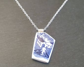 Broken China Pendant, Broken China Jewellery, Broken China Jewelry, Broken Plate Jewelry, Blue Pendant Necklace, Blue Wife Necklace