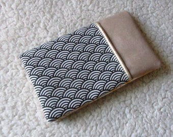 Checkbook in beige Suede, Japanese fabric to vague pattern and Gold piping
