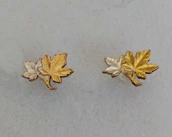 Canadian Maple Leaf 24 Carat Gold and Silver Layered Handmade Cut Coin Stud Earrings Jewellery Canada 1 Cent