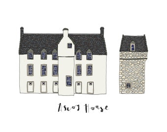Ascog House, a Landmark Trust building - A6 Greeting Card, A4 Digital Print