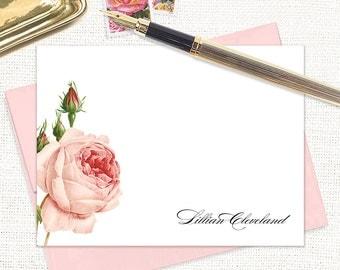 personalized flat note cards - LIGHT PINK ROSE - set of 12 cards - flower stationery - floral stationary - florist - botanical