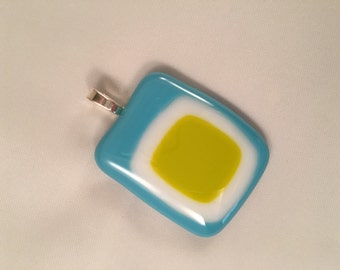 Teal, lime green and white pendant