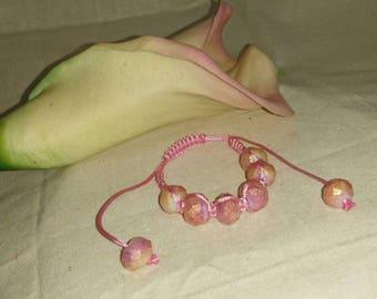 Golden Pink Shimmer - Woven Bracelet