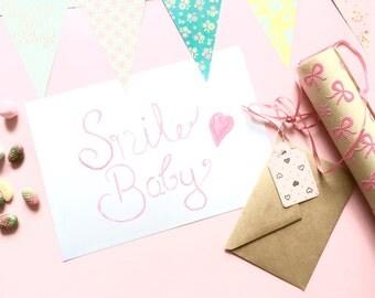Watercolor art print, art, words, smile baby, pink, watercolors