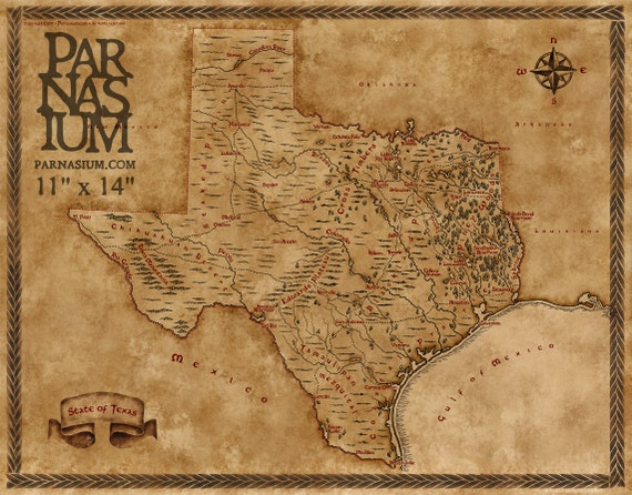 Fantasy Map of Texas Wall Art Print Wall decor Fantasy map