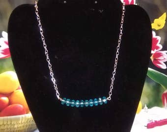 Blue ice crystal necklace