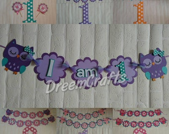 Owl Banner. Look Whoo's 1. Owl theme. Any color scheme available! FREE confetti with banner purchase!