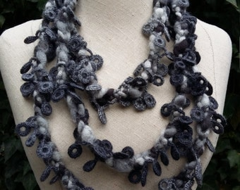 Long wool crochet necklace