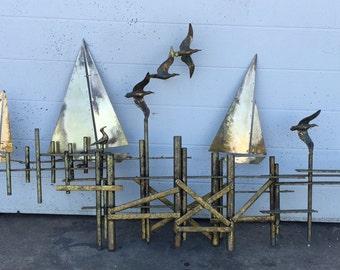 Curtis Jere Brass Dock Scene Wall Sculpture
