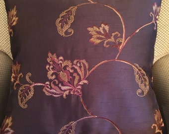 """Brown with Tan and Rust Floral Decorative Pillow Cover Throw Pillow 20"""""""