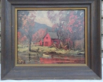 1960s shumaker's Autumn Reflections framed art print