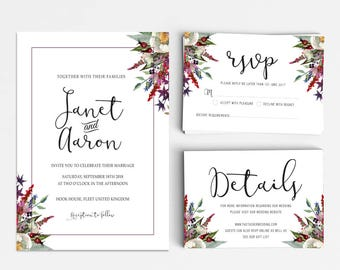 Wedding Invitation Suite, Wedding Invitation Printable, Invitation Set, Wedding Invitation Rustic, Letter or A4