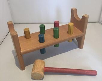 Vintage Retro Shabby Chic 1960s 1970s 60s Kiddicraft hammer & bench wooden toy