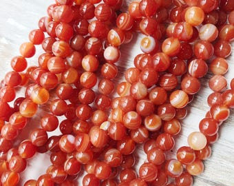 8mm Red Banded Agate Red Beads High Quality Gemstone Jewelry Supply DIY Supply