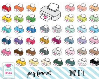 43 Doodle Printer Clipart. Printer clipart. Personal and comercial use.