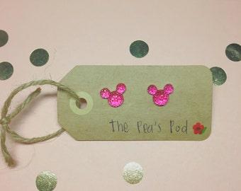 Dark Pink Mini Mickey Earrings