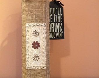 Burlap Wine Tote