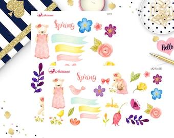 Spring Ephemera - Spring Die Cuts - Handmade Die Cuts - Paper Bears - Flower Die Cuts - Flower Ephemera - Planner Stickers - Happy Planner