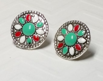 Round Medallions of Red, Green, and White on Silver Stud Earrings, 14mm, silver-plated setting,