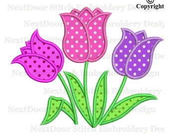 Tulip applique design, tulips floral machine embroidery design,  fls-047