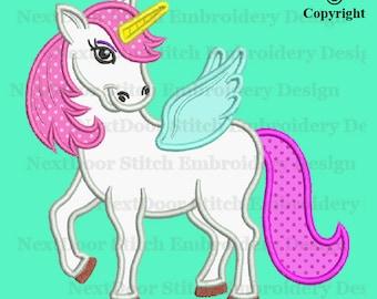 Unicorn embroidery applique design, girly pegasus, horse-006