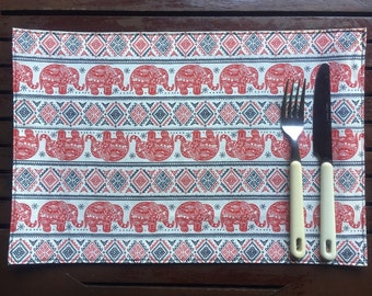 Set 4 Handmade Thai Red Elephant Placemats Kitchen Dining Table Mat