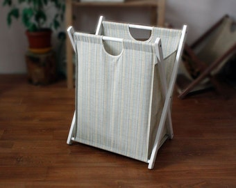 Collapsible laundry basket Textile wooden frame laundry hamper Storage box Laundry bag