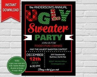 Ugly Sweater | Christmas Party, Ugly Sweater Invite, Christmas Invitation, Tacky Sweater Party, Christmas Sweater, Sweater Invitation,