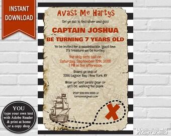 Pirate Birthday, Pirate Invitation, Pirate Party, Birthday Invitation, Pirate Invite, Boy birthday, Pirate Party Invite, Pirate Ship,