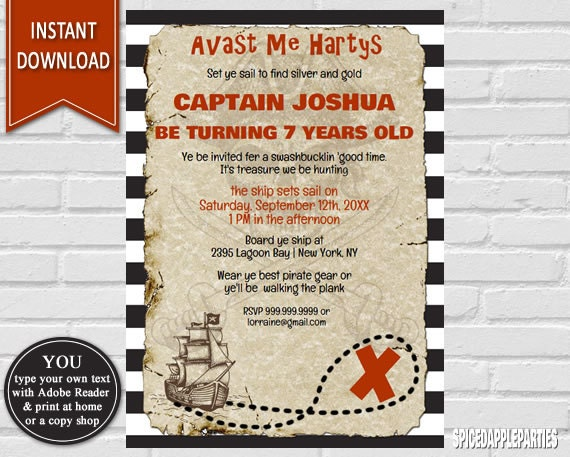 Pirate Birthday Pirate Invitation Pirate Party Birthday – Pirate Party Invite