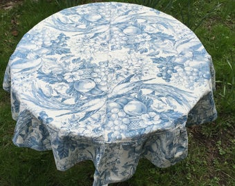 Vintage Round Tablecloth W Flounce French Antique Fabric Style Printed Toile  W Fruits Birds Flower Basket