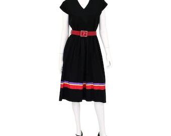 1970's Vintage Women's 10 David Warren Black Striped Dolman Sleeve Blouson Dress