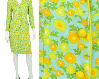 1960s Vintage Women's 2 to 4 Bright Yellow Mod Skirt Suit New Old Stock Junior House