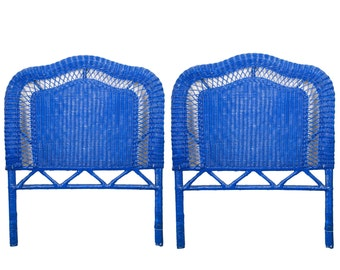SALE! Blue Wicker Headboards, Pair of Wicker Headboards, twin headboards, king headboard