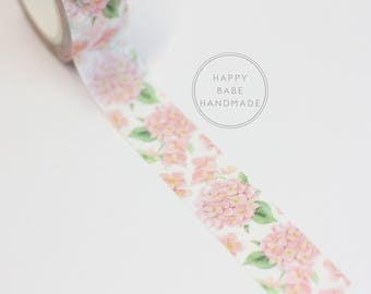 Hydrangea Washi Tape, 15mm x 7m, 7.6yds, Floral Washi Tape, Hydrangea Decor, Pink Hydrangea, Hydrangea Plant, Washi Tape, Planner Tape