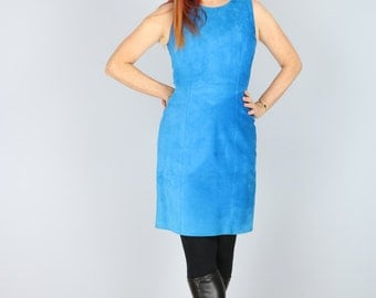 1980's Does 60s Dress - Blue Suede Mod Party Dress - Sheath Dress - Sleeveless - Bold Dramatic Sexy Clubbing Dress - Above Knee - Size Small
