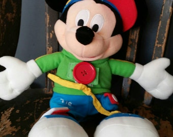 Disney Mickey Mouse Learn to Dress 14 Inch Plush Toy by Dream International Limited/Vintage 1990s/Collectible Mickey Mouse/Nursery Decor