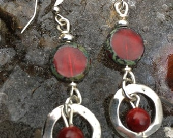 Boho Earrings, Red And Silver Earrings, Dangle Earrings, Valentines Earrings, Red Earrings, Unique Earrings