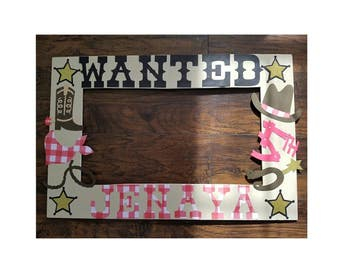 Western theme photo frame prop - wanted theme photo booth frame prop - Cowgirl photo booth frame prop